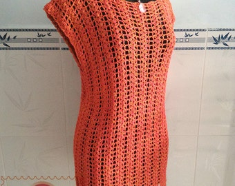 Crocheted Summer air tunic ( size L ) - free worldwide shipping