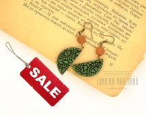 DISCOUNT 50% green boho flower print polymer clay half moon dangling earrings gift under 5 dollars, sale