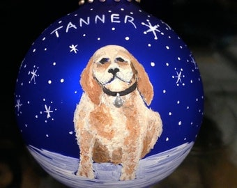 FREE SHIPPING! Pet portrait Christmas ornament Animal ornament. Cats, dogs, any animal, custom painted and personalized. Order by 12/14 XMAS