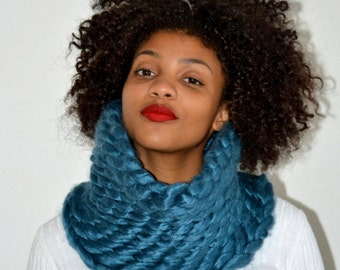 Teal Crochet Snood/ Teal Cowl/ Crochet Neck Warmer/ High Fashion Cowl/ Cowl Scarf/ Tunnel Cowl/ Teal Tunnel Cowl/ Snood Scarf/ Gift for Her