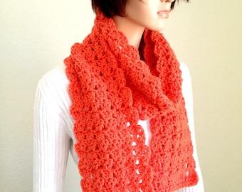 Simplicity Scarf in Orange/ Orange Spring Fashion Scarf/ Summer Scarf/ Fall Fashion Scarf/ Shell Stitch Scarf