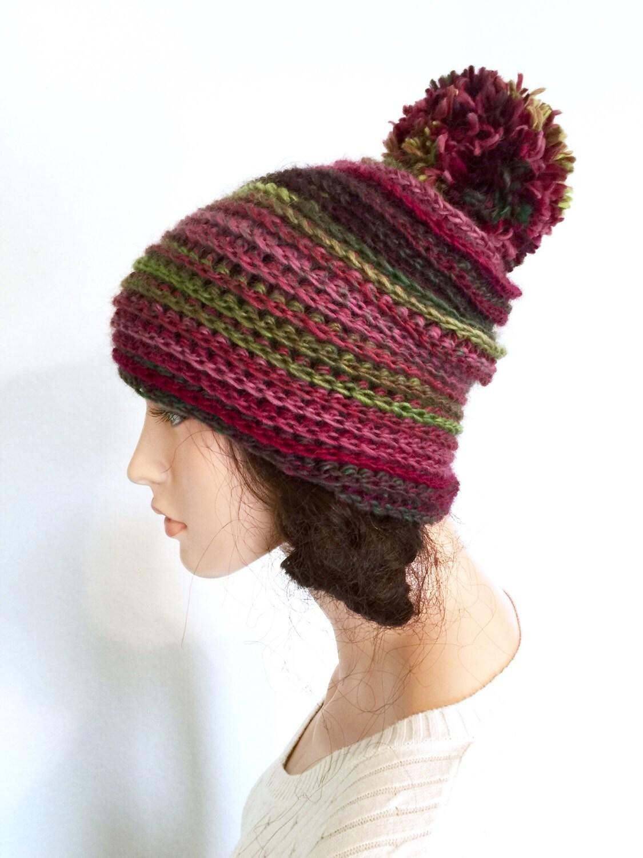 Crochet Scarf Pattern Using Pom Pom Yarn : Multicolored Pom Pom Beanie/ Crochet Beanie Hat/ Winter
