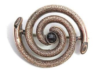 Victorian Garnet Brooch antique Jewelry Brooch Brass Jewellery 1800s Gemstone