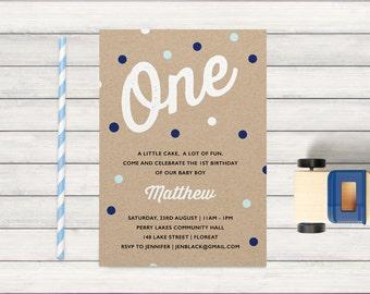 1st Birthday Invitation Boy, Confetti boys first birthday party, polka dots, printable, print yourself, blue, navy & brown kraft