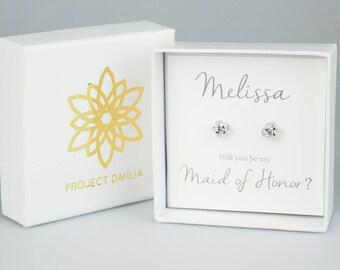 Silver Knot Earrings, Knot Earrings, Bridemaid Earrings, Bridesmaid Gift, Bridal Earrings, White Gold Knot Earrings, Bridal Party Gift