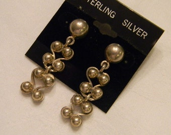 """Very Fashionable Dangling 925 Sterling Silver Heavy 3 Moving Parts Post Earrings 1.75"""" Long #2524"""