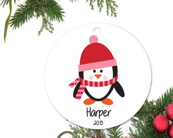 Penguin Ornament, Baby's first Ornament, Personalized Christmas Ornament, Custom Baby Ornament, Ceramic baby Ornament, Holiday Gift