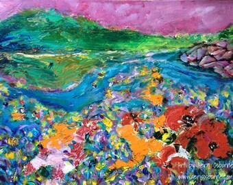 Vivid Poppy Landscape Painting, Original Acrylic Modern Fine Art by Aeris Osborne, Stretched Canvas Wall Art, Canada Lake Mountains