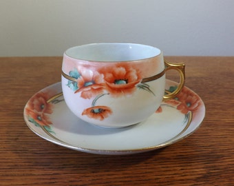 Teacup and Saucer Porcelain ~ Hand-Painted Red Poppies ~ Jaeger & Co. ~ 1898 - 1923