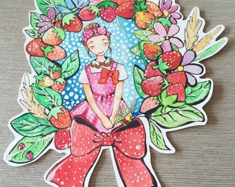 ORIGINAL ILLUSTRATION strawberry girl