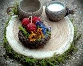 Fairy Garden Tea Party Set & Acorn Cap Food Tray - Fairy Garden Wood Slice Dining Accessories Woodland Miniature