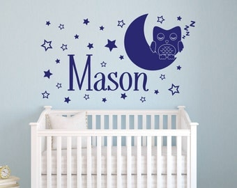 Name Wall Decal   Owl Wall Decal   Star Moon Wall Decal   Owl Name Wall