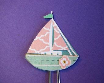 Sail Boat Planner Clip, Page Clip, Bookmark Paper Clip, Handmade