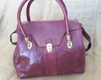 Vintage VALENTINA auburn brown leather satchel shoulder bag purse