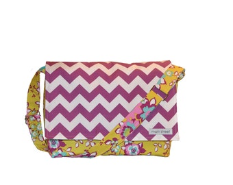 ON SALE!! Purple chevron with flowers camera bag