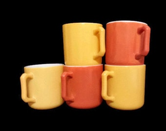 Hazel Atlas Mugs Kiddie Ware Five Espresso Demitasse Small Cups Yellow Orange Milk Glass Mugs