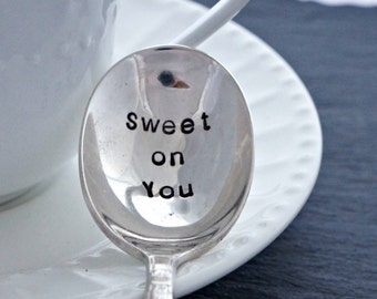 Stamped Sugar Spoon, Sweet on You Silverplate Spoon, Unique Gift for a Coffee or Tea Lover