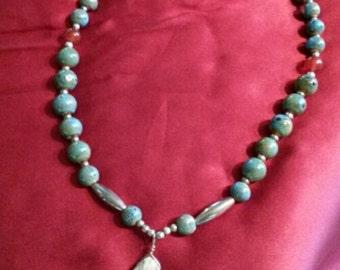 Handmade Stone and Ceramic Beaded Necklace