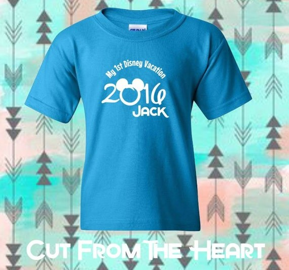 Fast shipping first disney trip t shirt by cutfromtheheart for Custom shirts fast delivery