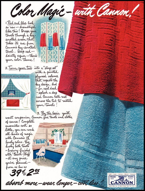 1951 vintage ad cannon towels cannon towel ad pretty towel for Bathroom accessories ads