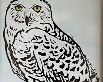 Snowy Owl Linocut Print