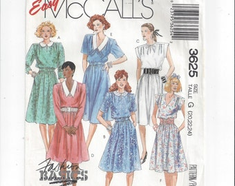 McCall's 3625 Pattern for Misses' Dress and Belt, Size 20, 22, 24, From 1988. FACTORY FOLDED & UNCUT, Vintage Pattern, Home Sewing Pattern