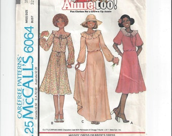 McCall's 6064 Pattern for Misses' Dress or Bride's Dress, Annie Too, Size 10, From 1978, Little Orphan Annie Pattern, Vintage Pattern, Home