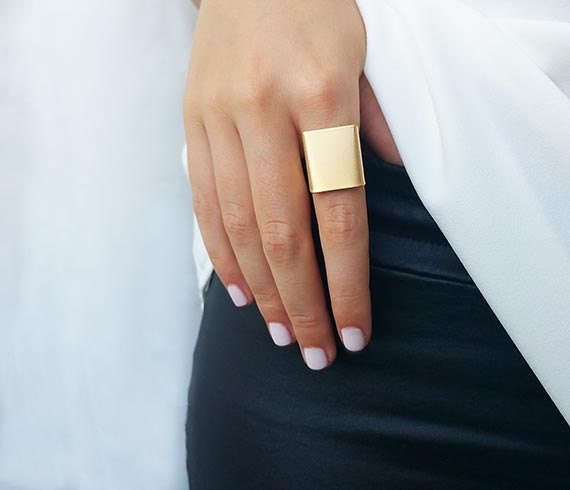 Wide band ring Gold ring Adjustable ring Simple big gold