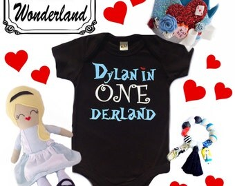 ONEDerland First 1st Birthday Alice In Wonderland Theme Sparkle Glitter Baby Girls Customizable Bodysuit or tee