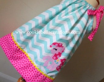 Pink Pony Aqua Chevron and Pink Polka Dot Pillowcase Dress