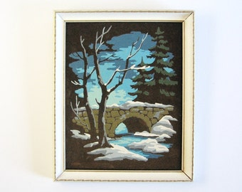 Vintage 8 x 10 Paint By Number - Country Landscape Velvet Painting - Winter Landscape Painting - Retro Art - Rustic Wall Decor - Cabin Decor