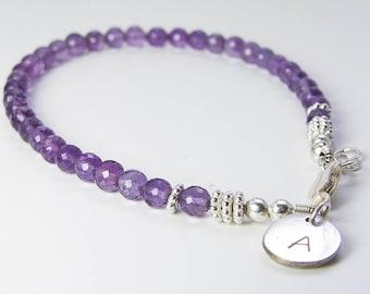 Purple Amethyst Initial Bracelet. Personalized Jewelry. Gemstone Jewelry. February Birthstone. Recycled Silver Jewelry. Eco Friendly Jewelry