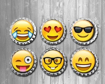 Face Emoji Bottle Cap Magnets - Set of 6