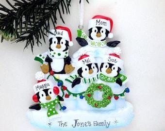 FREE SHIPPING 5 Family Penguin Ornament / Personalized Christmas Ornament / Family of Five Ornament