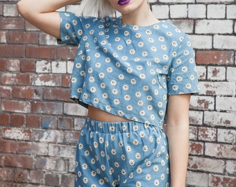 Co-ord Set in Daisy Chambray Print by Get Crooked