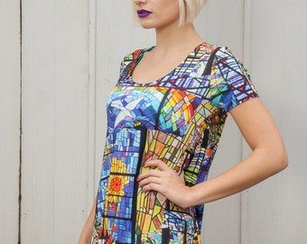 Swing Dress Stained Glass Digital Print Jersey by Get Crooked