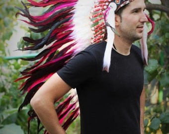 PRICE REDUCED Y12 Indian Native American Style, Medium Fuchsia Feather Headdress (36 inch long )..