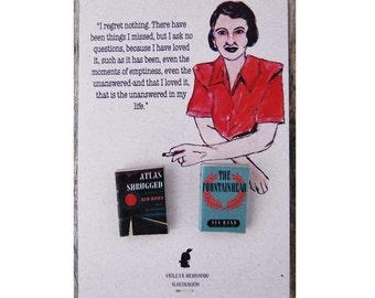 Ayn Rand's miniature books pin set