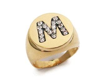Monogram ring.Initial ring. Gold men ring. Unisex initial ring. initial ring. Gift for him. Personalized ring. Signet ring.1613