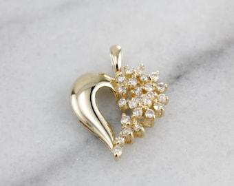 Diamond Waterfall of Love, Diamond Heart Pendant, Anniversary Pendant in Yellow Gold, Polished Pendant  XJWZZT-P