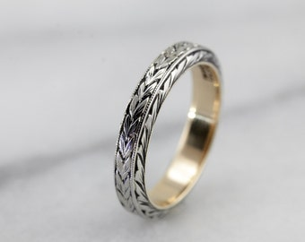 Gorgeous Antique Wedding Band, Edwardian Era Ring with Beautiful Pattern, Rose Gold and White Gold  X1NN4A-P