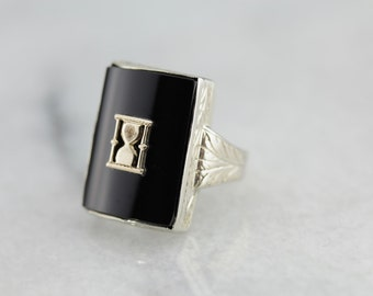Art Deco Black Onyx Hour Glass Men's Statement Ring VH5JKK-N