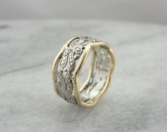 Pierced Two Tone Band in Yellow and White Gold with Wide Profile, Pierced Filigree Pattern Band 76PM19-N