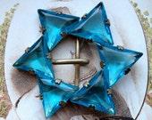 Vintage belt buckle, Art Deco, Blue Czech Glass, Star of David