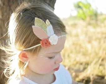 Flower and feather headband - newborn through adult - boho headband