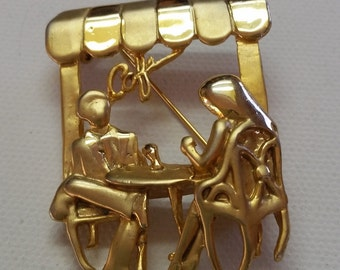 Hot Unsigned American Jewerly Co. Man and Woman Sitting in  a Cafe Brooch, Couple Sitting at a Cafe Brooch, Contempory Brooch