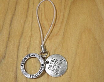 Strength and 'never never give up' silver charm- your choice of string colour
