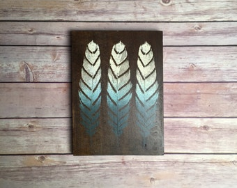 Wall Art, Chevron Feather Wooden Sign, Boho art, Shabby Chic Art