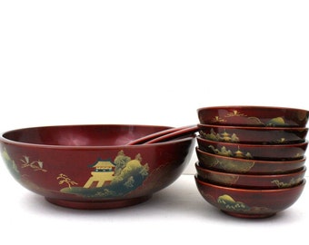 Japanese Lacquerware Lacquer 9 piece Salad Bowl Set / Pigeon Blood Red Made in Japan