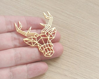 1 pcs of Geometric 18k Gold Plated Moose Stainless Steel Pendant